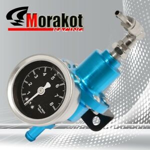 New Jdm Adjustable 1 140 Psi Fuel Pressure Regulator Kit With Liquid Gauge Blue