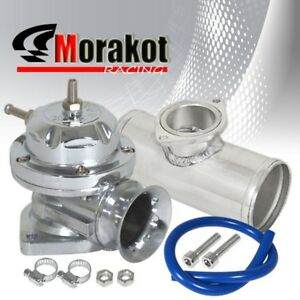 Chrome Silver Type Rs Bov Blow Off Valve jdm 2 5 Inch 52mm Aluminum Adapter