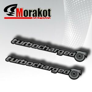 2xturbo Charged Silver Black Jdm Emblem Decal Bumper Sticker Window Fender Badge