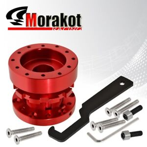 New Jdm Universal Adjustable 6 Hole Bolt Steering Wheel Extender Adapter Hub Red
