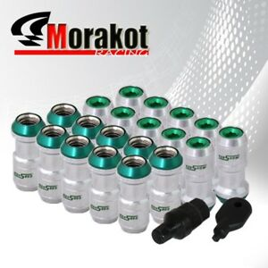 20 Piece 1 9 Long Extended Wheels Rims Lug Nuts M12 X1 5mm Thread Chrome green