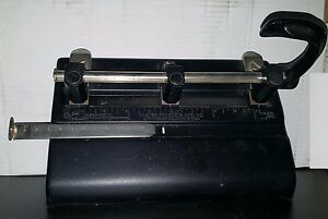 Vintage Master Products 3 Hole Paper Punch Made In Usa Black Metal