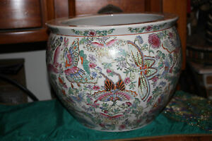 Antique Chinese Pottery Planter Fish Bowl Signed Bottom Butterflies
