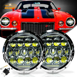7inch Round Led Headlamp Headlights Chrome Upgrade Kit For Vw Beetle Classic