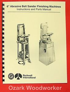 Delta rockwell milwaukee 6 Belt Sanders Instructions Parts Manual 0961