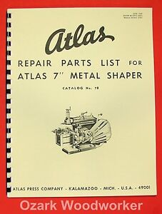 Atlas 7 Metal Shaper Instructions And Parts Manual 0026