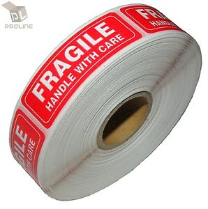 5 Rolls 1000 Per Roll 1 X 3 Fragile Handle With Care Stickers Labels Easy Peel