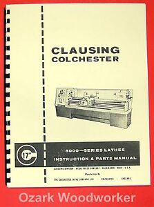 Clausing colchester 17 8000 Series Metal Lathe Operator Part Manual 0158