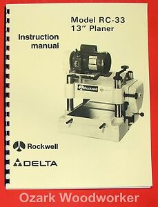 Delta rockwell Rc 33 13 Planer Operator Parts Manual 0254