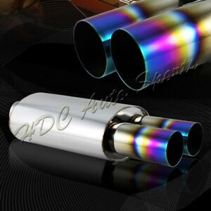 3 Dual Rainbow Burnt Tip 2 5 Inlet T 304 Stainless Exhaust Muffler Universal