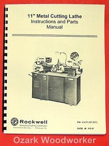 Rockwell 11 Cabinet Metal Lathe Operating parts Manual 0590