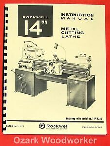 Rockwell 14 Cabinet Metal Lathe Op parts Manual 0596