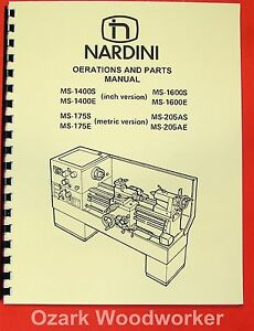 Nardini Lathe Ms 1400s e 1600s e 175s e 205as e Manual 0481