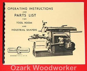 Gould Eberhardt Tool Room Industrial Metal Shaper Instruction Part Manual 1000