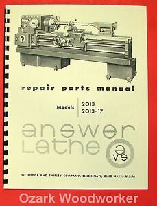 Lodge Shipley Answer Lathe 2013 2013 017 Parts Manual 0823