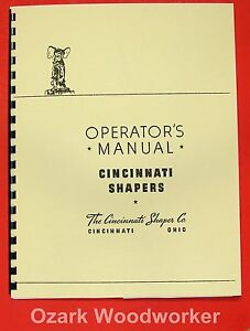 Cincinnati 16 20 24 28 32 36 Metal Shapers Operator s Manual 0121