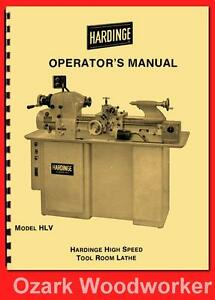 Hardinge Hlv Hlv bk High Speed Tool Room Lathe Operator s Manual 58 1125
