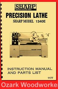 Sharp 1340e Jet Gh 1340t 13 X 40 Metal Lathe Instructions Parts Manual 1177