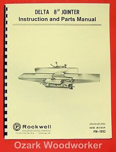 Delta rockwell 8 Jointer Instructions Parts Manual 0248