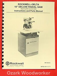 Rockwell delta 10 Deluxe Radial Arm Saw Owner s Parts Manual 0801