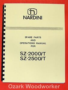 Nardini Sz 2000 t Sz 2500 t Lathe Op part Manual 0487