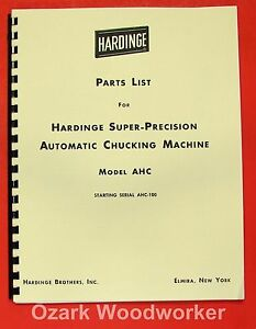 Hardinge Ahc Automatic Chucking Machine Parts Manual 0327