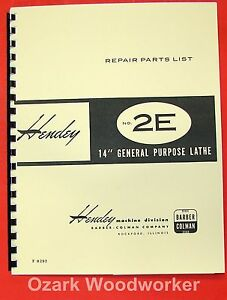 Hendey Barber Colman 2e 14 Lathe Parts Manual 0354