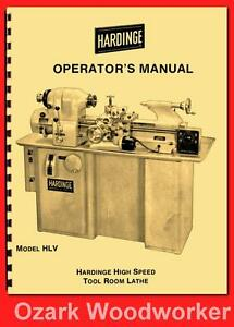 Hardinge Old Hlv High Speed Tool Room Lathe Operator s Manual 54 1124