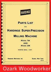 Hardinge Milling Machine Models Tm Um Parts Manual Serial 32273 Up 1118
