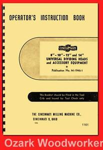 Cincinnati 8 10 12 14 Universal Dividing Head Operator Instruction Manual 1161