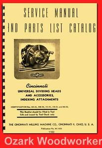 Cincinnati 10 12 14 Universal Dividing Head Indexing Service Part Manual 1160