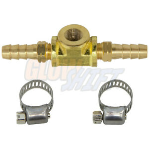 Glowshift 8mm 5 16 Fuel Line Fuel Pressure Sensor T Fitting Adapter W Clamps