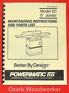 Powermatic 60 8 Jointer Instruction Part Manual 0536