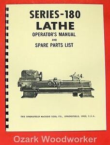 Springfield 180 Series Metal Lathe Operator Parts Manual 0703