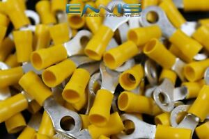 10 12 Gauge Vinyl Ring 1 4 Connector 500 Pk Yellow Crimp Terminal Awg Wire