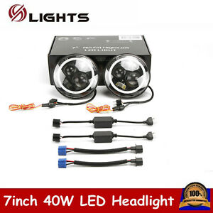 2x 7 40w Led Halo Angel Eyes Headlight Round Lamp For Jeep Wrangler Jk Tj Hl Lo