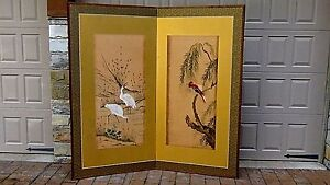 Antique 19c Japanese 2 Panel Watercolor On Silk With Cranes Parrot Room Screen