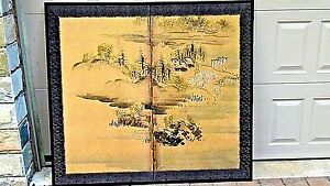 Antique 19c Japanese Watercolor On Gold Paper 2panel Room Screen Landscape