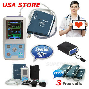 Usa Ce Fda Ambulatory Blood Pressure Patient Monitor 24h Nibp Holter 3 Cuffs usb