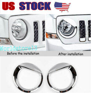 Fit Jeep Patriot 2011 17 Chrome Front Headlight Lamp Cover Trim Angry Bird Style