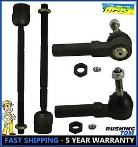 95 99 Dodge Plymouth Neon 4 Pc Kit Front Inner Outer Tie Rod End Left Right