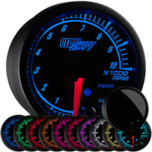 2 1 16 Glowshift Black Elite 10 Tachometer Gauge W Adjustable Rpm Warnings