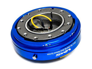 Vms Racing Thin Short Slim Quick Release Blue For Nrg Steering Wheel Hub Kit