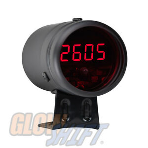 Black Digital Racing Lcd Tachometer Tach Red Led Shift Light