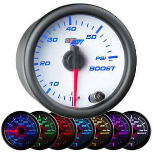 52mm Glowshift White 7 Color Led Diesel Turbo Boost 60 Psi Gauge W Clear Lens
