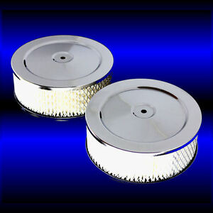 Dual Chrome 6 X 3 Inch Air Cleaners Fits Ford 289 302 351 390 427 428 Set Of 2
