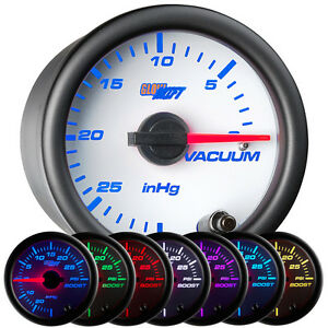 New Glowshift 52mm White 7 Color Mechanical Vacuum Vac Gauge W Clear Lens