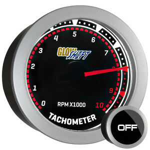 52mm Glowshift Tinted Series Tachometer Tach Gauge W Backlit White Led Readout