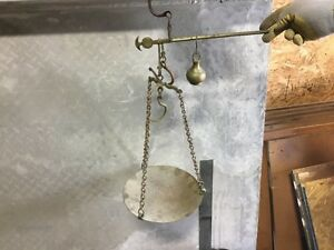 Antique Iron Brass Hanging Beam Steelyard Scale With Pan 3 4 Okka Weight