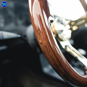 Viilante 2 Dish 6 Hole Steering Wheel Walnut Wood Grain Gold Chrome Fits Nrg